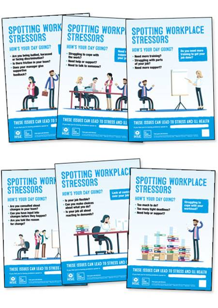 Workplace stress posters (illustration version)